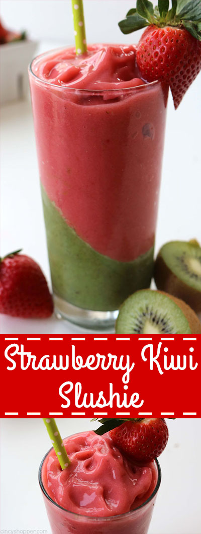Strawberry Kiwi Slushie - makes for a perfect warm weather treat. Super refreshing and filled with tons of flavor.