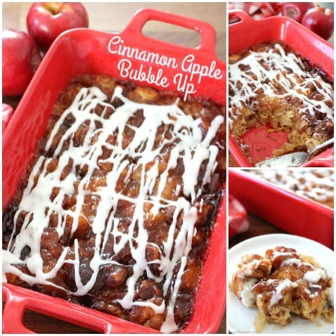 Cinnamon Apple Bubble Up - super simple. We use store bought Cinnamon Rolls and apple pie filling to make a mini casserole that is perfect for breakfast or dessert.