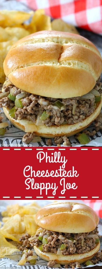 Philly Cheesesteak Sloppy Joes - all the delicious ingredients found in the steak sandwich but we make this version with ground beef and then serve on a hamburger bun.