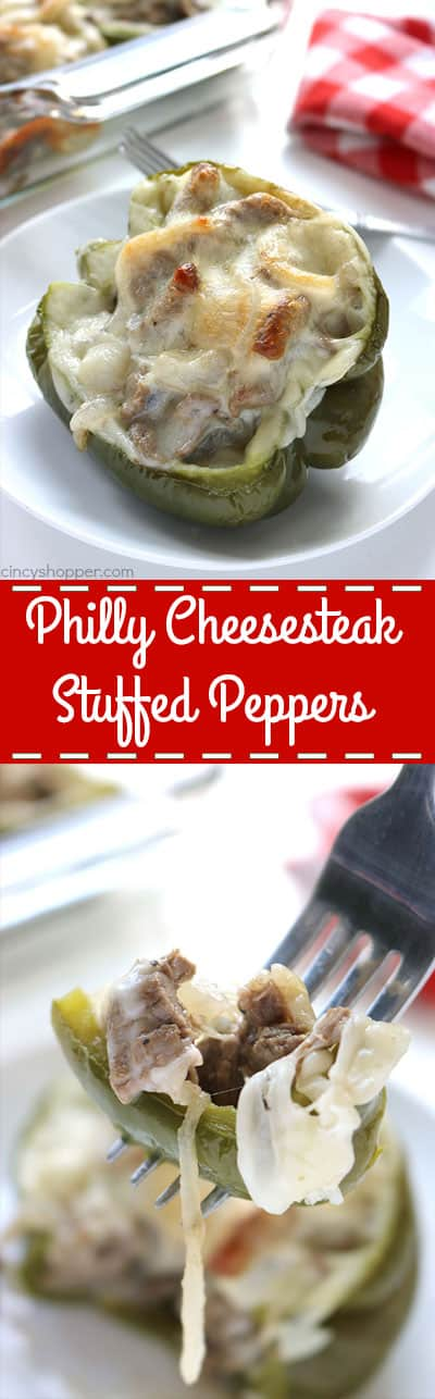 Philly Cheesesteak Stuffed Peppers - super tasty and easy dinner idea. You will find all the flavors you love of a Philly Cheesesteak stuffed right inside of a green pepper.