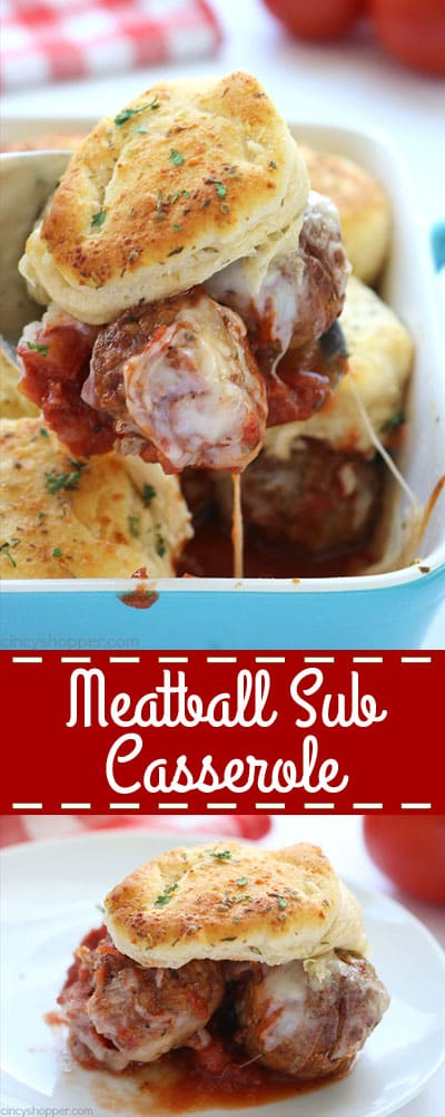 Make this super easy Meatball Sub Casserole for dinner tonight, your family will love it! Use homemade or store bought meatballs, sauce, and biscuits to create this simple dinner dish.