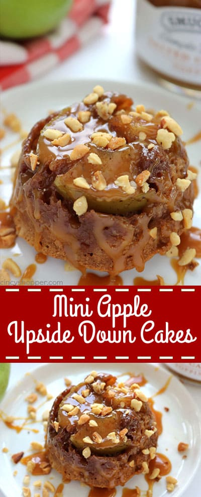 Mini Apple Upside Down Cakes - loaded with lots of fresh apples and a cinnamon spiced sauce. Eat them as is or add on some caramel and nuts.