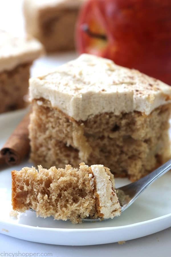 3 Ingredient Apple Cake with Brown Sugar Cinnamon Frosting - easy fall dessert.
