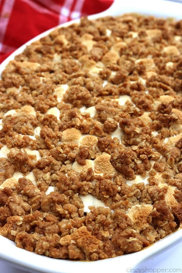 This is absolutely the BEST Sweet Potato Casserole ever. Since this casserole includes a delicious streusel type topping, it makes it like no other. Perfect for Thanksgiving and Christmas dinners.