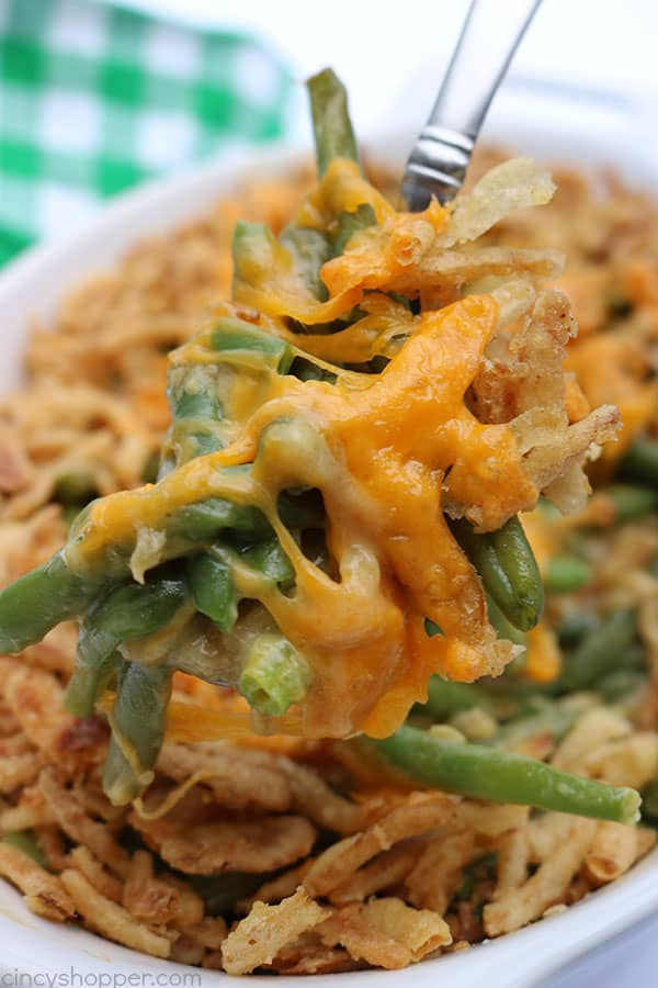 Cheesy Green Bean Casserole - Since it uses cheese soup instead of cream of mushroom, it is perfect for those who are not fans of the traditional casserole.