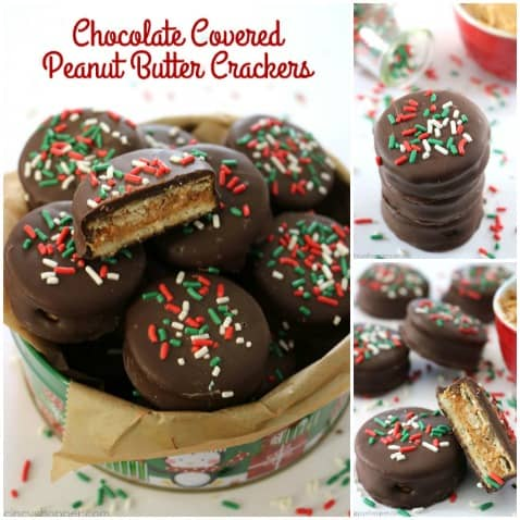 Since these Chocolate Covered Peanut Butter Crackers are made with just 3 ingredients, they are so simple to make. Perfect for a quick and easy Christmas candy treat. Oh... they are great for a homemade candy gift too! #ChristmasCandy