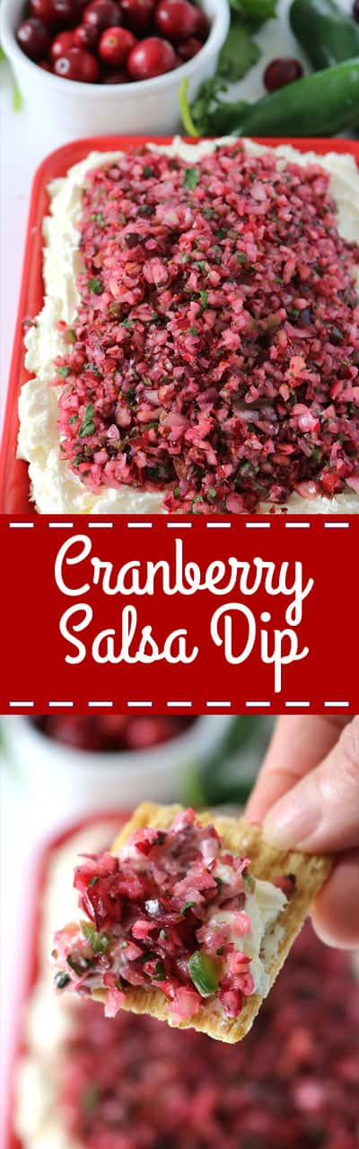 If you are needing an awesome Thanksgiving or Christmas appetizer, this Cranberry Salsa Dip will be perfect. It is loaded with a bit of spice that gives great flavors. Serve this dip with some crackers. Quick and Easy!