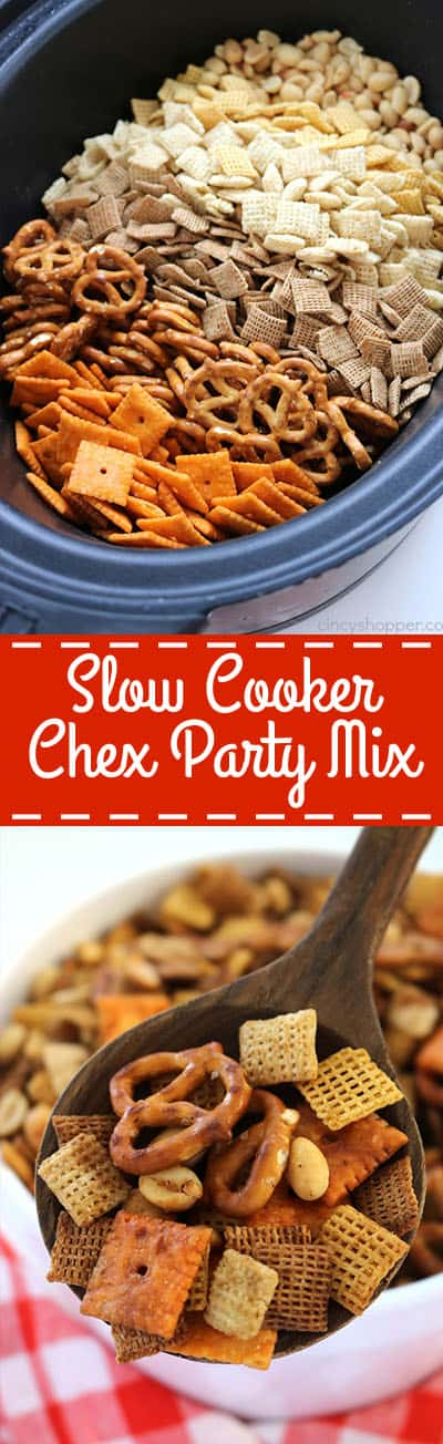 This Slow Cooker Chex Party Mix will perfect for every day snacking, holiday parties, movie nights, and great for Game Day. This stuff feeds a crowd. So simple to make since it is made right in your Crock-Pot.