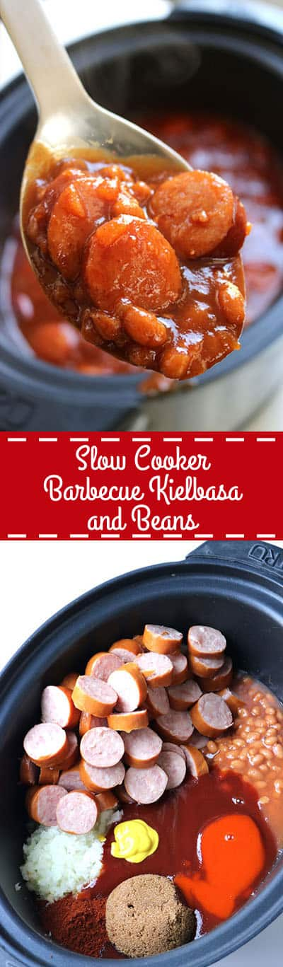 This Slow Cooker Barbecue Kielbasa and Beans will be perfect for your next pot luck or summer BBQ. The dish is loaded with flavor and just a hint of spice. #SlowCooker #BBQ