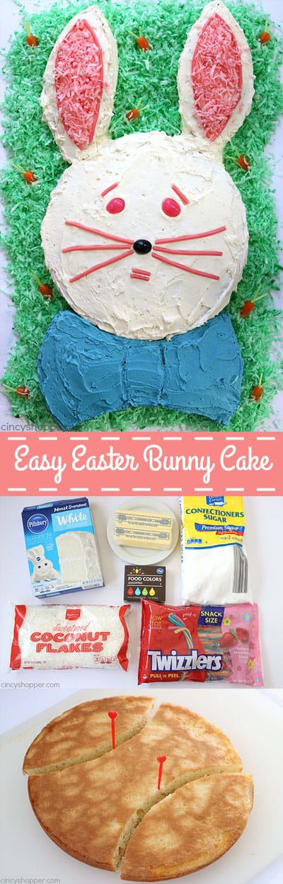 This Easy Easter Bunny Cake will be perfect for your after dinner dessert. Since we start with a boxed cake mix, it is super simple. Let the kids help decorate... they will LOVE it! #Easter