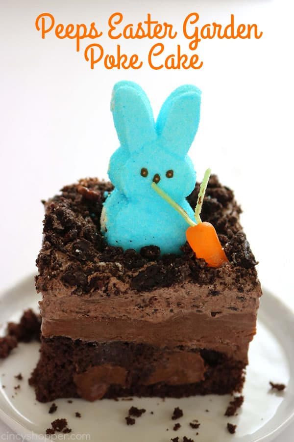 If you are needing an easy but delicious dessert for Easter, you will want to make this PEEPS Easter Garden Poke Cake. Super fun, colorful plus ...it's easy. #Easter #PEEPS