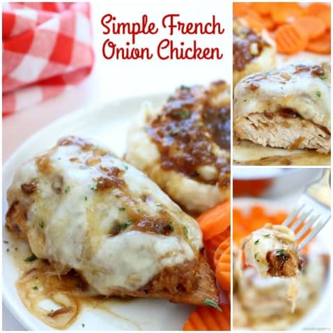 If you are a fan of French onion soup, you will want to make this Simple French Onion Chicken for dinner! We use simple ingredients to load up chicken breasts with amazing onion flavor. #ChickenDinner