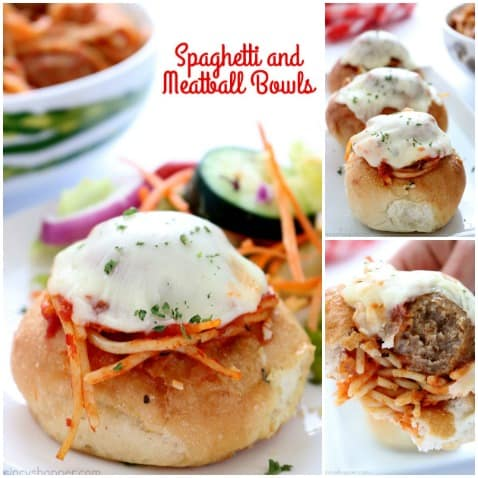 Looking to use that leftover spaghetti? Go ahead and make these delicious Spaghetti and Meatball bowls for an additional dinner or make them as a party food. So super simple to make.