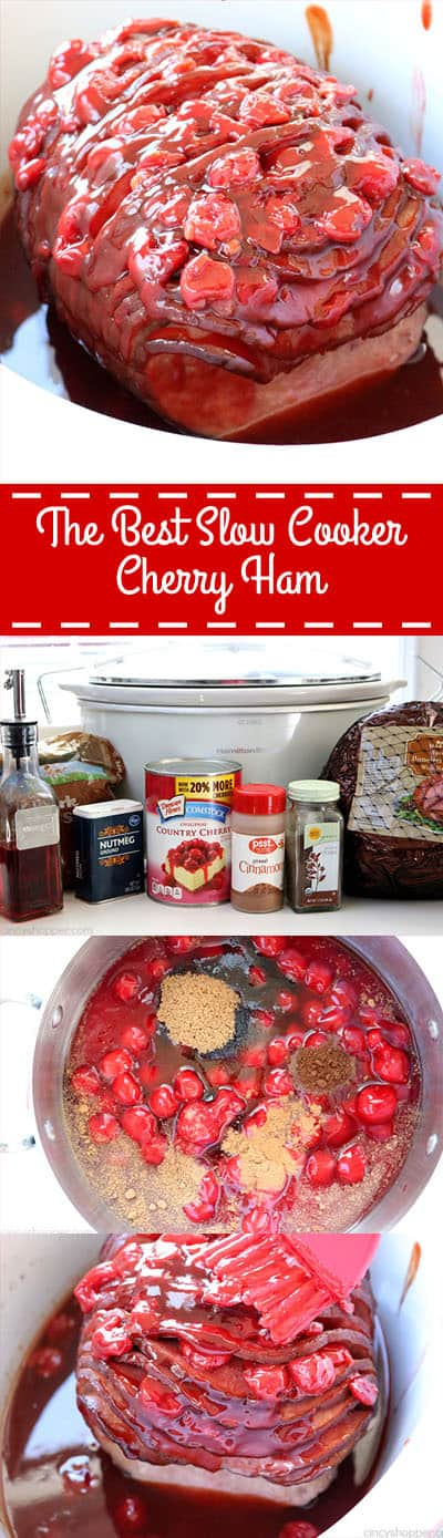 This right here is The Best Slow Cooker Cherry Ham! Not your traditional ham recipe but your family will LOVE it! Great for holidays like Christmas and Easter. #HolidayHam