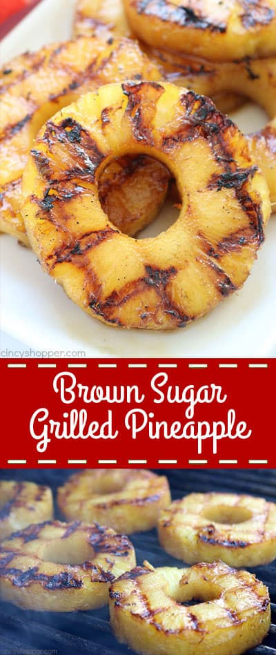 This super easy Brown Sugar Grilled Pineapple will make for a perfect side dish or even a dessert this summer. With just a couple simple ingredients like butter, vanilla, brown sugar, and cinnamon, you can whip it up and toss it on the grill in no time at all!