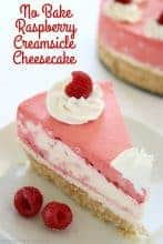 No Bake Raspberry Creamsicle Cheesecake