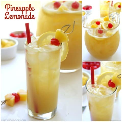 Pineapple Lemonade - We make it with fresh pineapple, fresh lemons, and a bit of brown sugar. You will find it easy to make and so super tasty! #Pineapple #Lemonade #Summerdrink