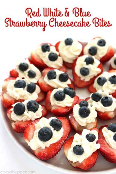 Red White & Blue Strawberry Cheesecake Bites