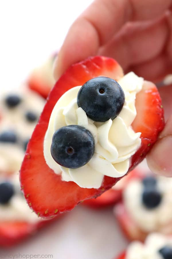 Red, White, & Blue Strawberry Cheesecake Bites - perfect appetizer or dessert for Memorial Day, 4th of July or any picnic. #July4th #RedWhiteBlue #MemorialDay #FingerFood