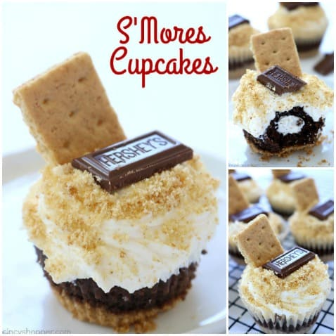 S'mores Cupcakes - all the flavors of a S'more right in a cupcake. #S'mores #Cupcake