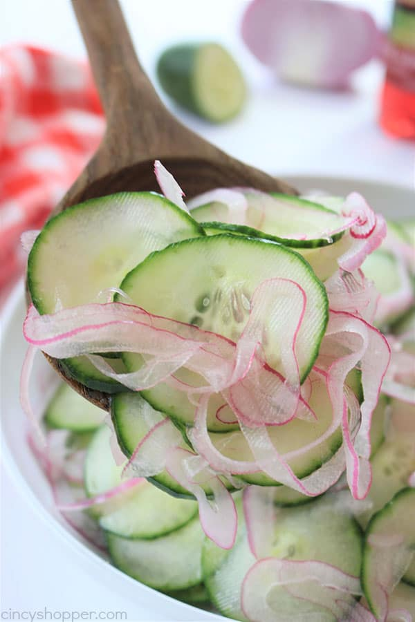 Cucumber and Onion Salad - perfect for a summer side dish. You will find thin sliced cucumbers and sweet onion coated in a sweet vinegar. Traditional, Easy and so good.#SummerSalad #Salad #Cucumbers