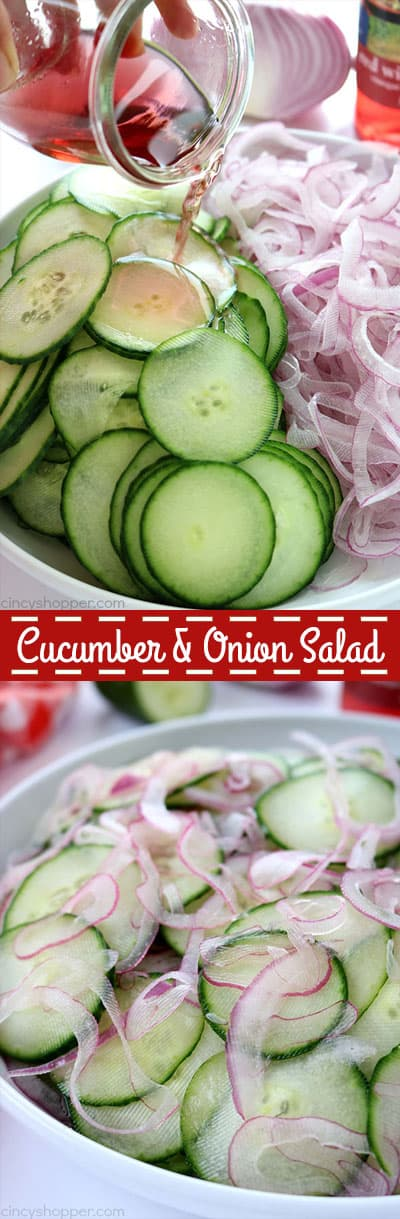 Cucumber and Onion Salad - perfect for a summer side dish. You will find thin sliced cucumbers and sweet onion coated in a sweet vinegar. Traditional, Easy and so good. #SummerSalad #Salad #Cucumbers