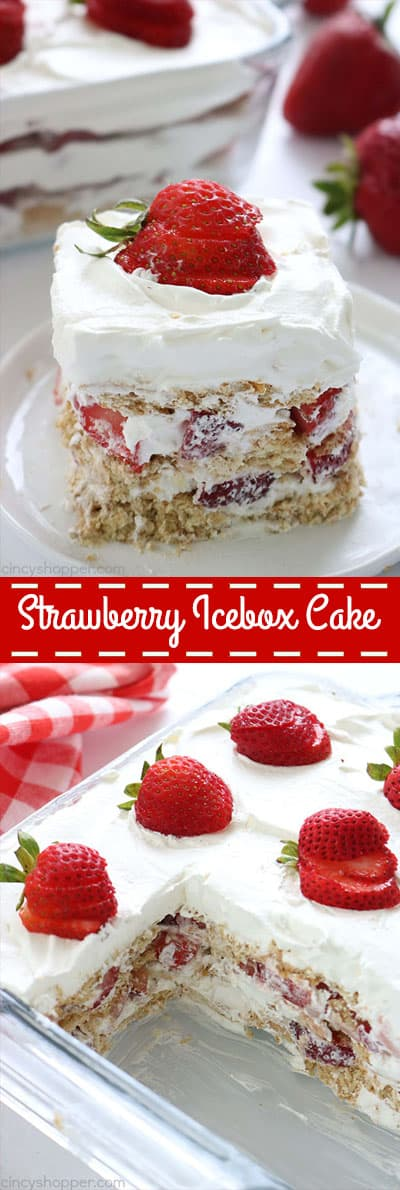 Strawberry Icebox Cake - the simplest dessert with no baking involved. With just 3 ingredients, you can whip this up for your next summer bbq or potluck! #Strawberry #Icebox #SummerDessert #NoBake