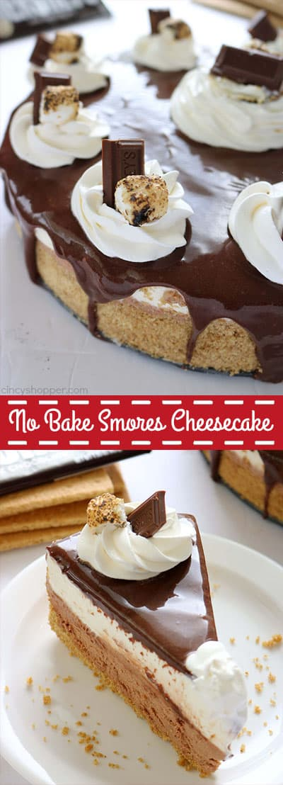 No Bake S'more's Cheesecake makes for a perfect year round indoor s'more dessert. We have the graham crackers, marshmallows, and of course, chocolate all in one cheesecake! So easy to make.