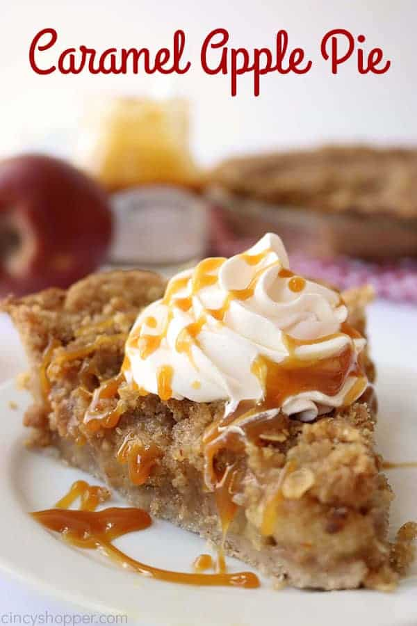 Caramel Apple Pie is made with fresh apples, salted caramel, streusel, and an easy cinnamon crust. It will be the perfect homemade pie for Thanksgiving and Christmas.