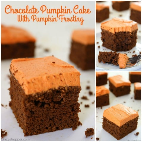 Chocolate Pumpkin Cake with Pumpkin Buttercream - pumpkin puree and pumpkin pie spice with a boxed mix to create an easy fall and Thanksgiving dessert.