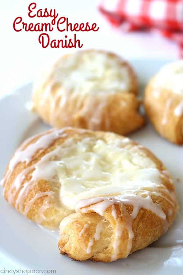 Easy Cream Cheese Danish - made with crescent rolls. Perfect for simple on the go breakfast. Great for brunches and desserts too!