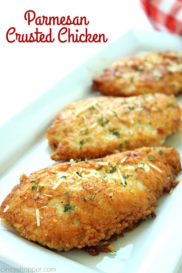 Parmesan Crusted Chicken -We use pounded thin chicken breasts, coat in a delicious Parmesan coating, and then fried to make them crispy.  Add this chicken idea to your dinner this week.