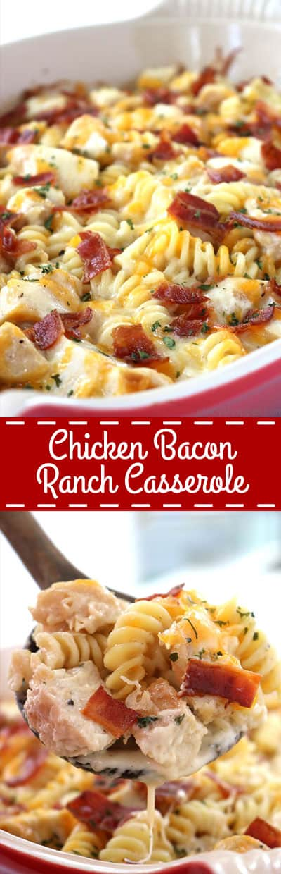Easy Chicken Bacon Ranch Casserole - perfect for a quick and simple dinner. We have pasta, chicken, easy Alfredo with ranch dressing, bacon, and of course, cheese.