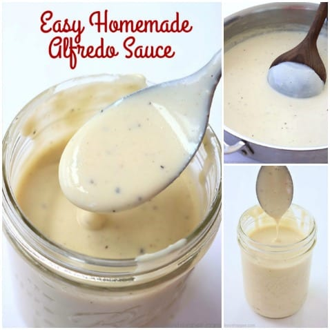 Easy Homemade Alfredo Sauce- made from scratch with just 4 simple ingredients. Great for topping your pasta or for your casserole dishes.