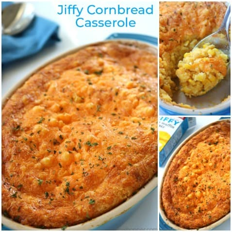Jiffy Cornbread Casserole - some might call it cornbread pudding. Whatever you call it, it is a perfect holiday side dish. So easy!