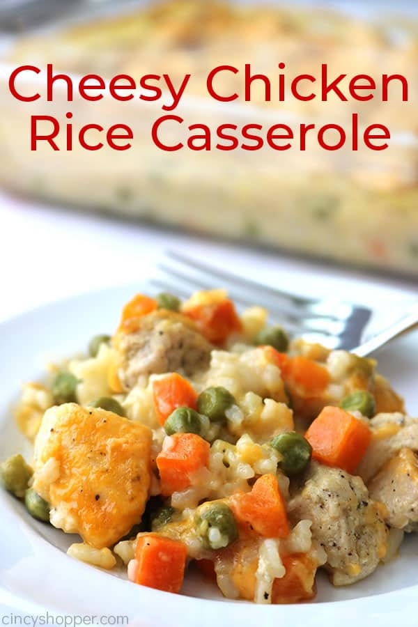 Easy Cheesy Chicken and Rice Casserole is perfect for a quick weeknight dinner. A simple comfort food dish that is sure to become a regular on your dinner table.