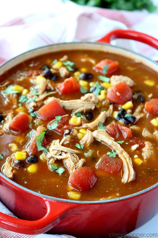 Chicken Tortilla Soup in pot.