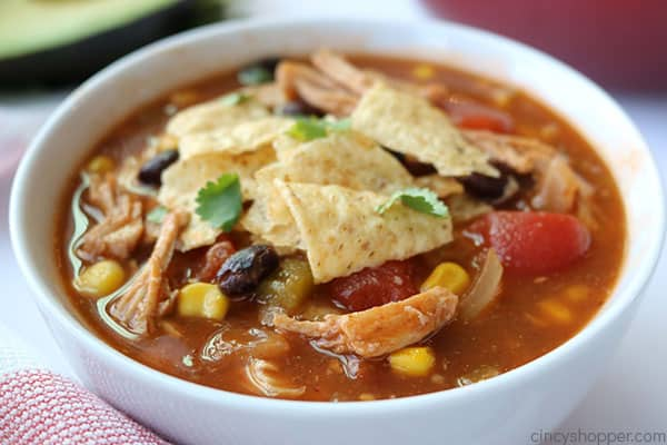 Cooked Chicken Tortilla Soup in a bowl.