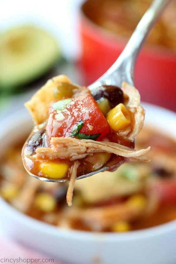 Chicken Tortilla Soup on a spoon.