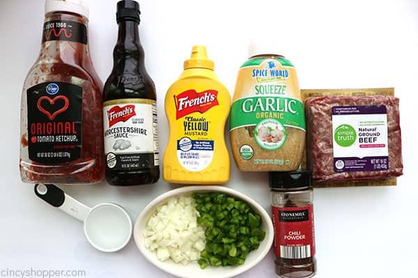 Ingredients to make sloppy joes