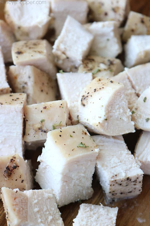 Cubed baked chicken breast.