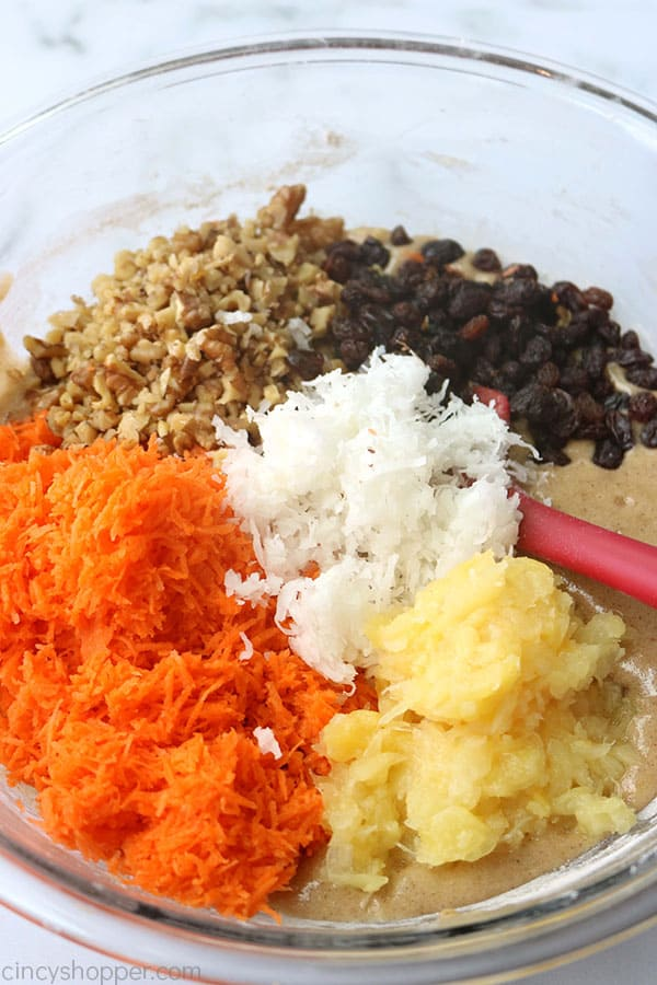 Bowl of ingredients for carrot cake