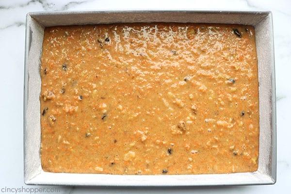 Carrot cake mix in pan.