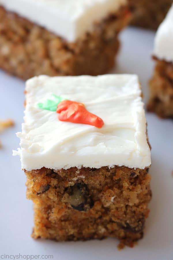 Slices of moist carrot cake.
