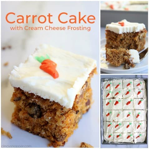 Carrot Cake with cream cheese frosting collage.