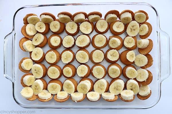 Banana layer for easy banana pudding.