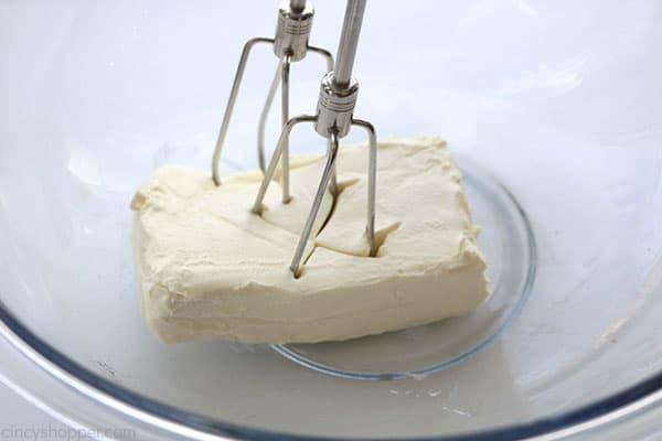 Beating cream cheese for banana pudding
