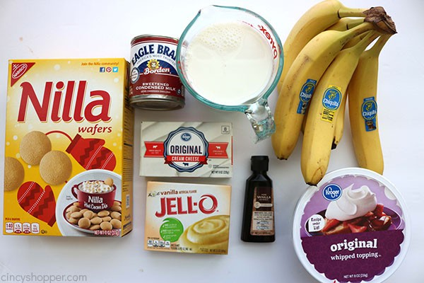 Ingredients for easy banana pudding