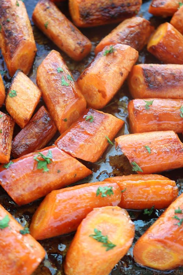 Honey Garlic Roasted Carrots on pan.