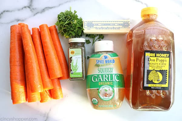 Ingredients to make Honey Garlic Roasted Carrots.